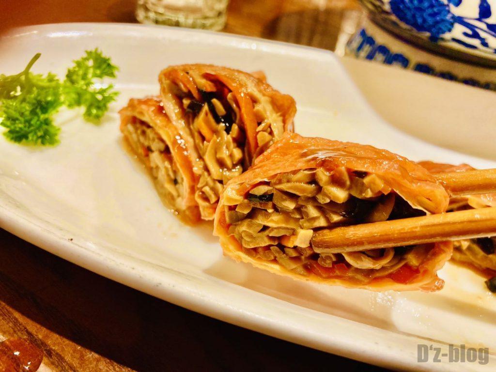 上海孔乙巳のキノコ豆皮巻きアップ