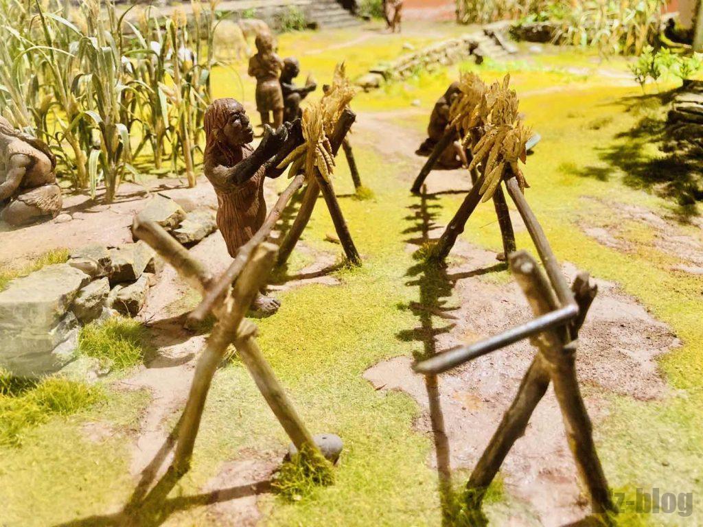 上海自然博物館原人ミニチュア農作