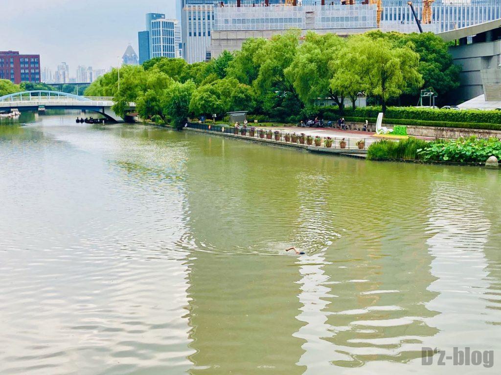 上海科技館付近の川で遊泳する人