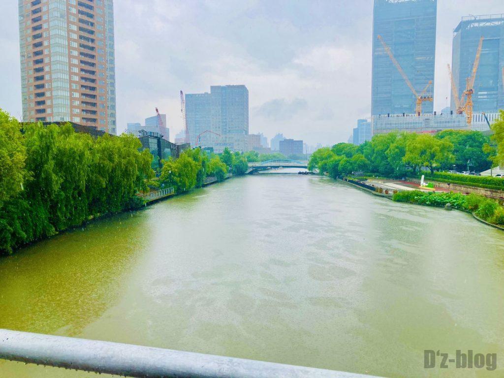 上海科技館付近の川雨の様子