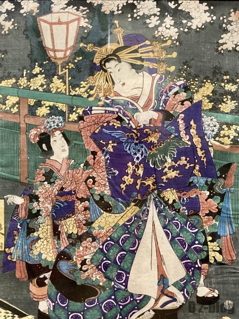 上海浮世絵振り返る女性と子供