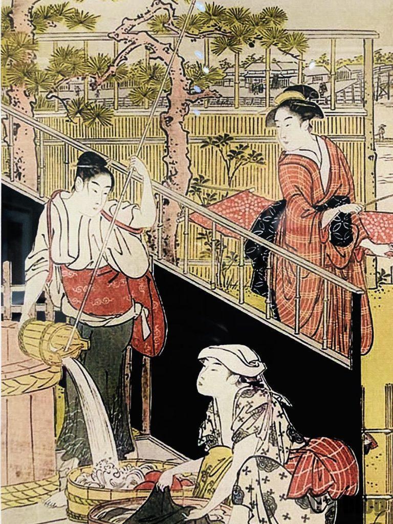 上海浮世絵洗濯をする女性