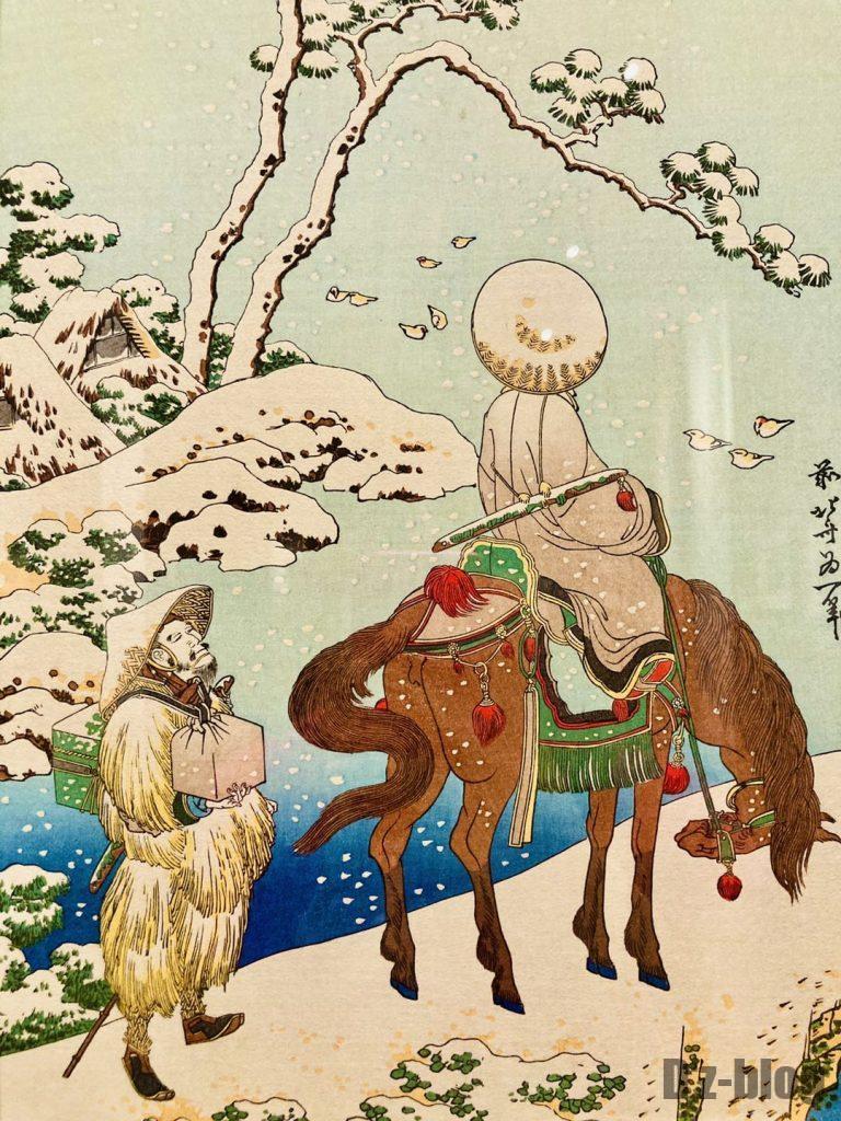 上海浮世絵雪景色男性アップ