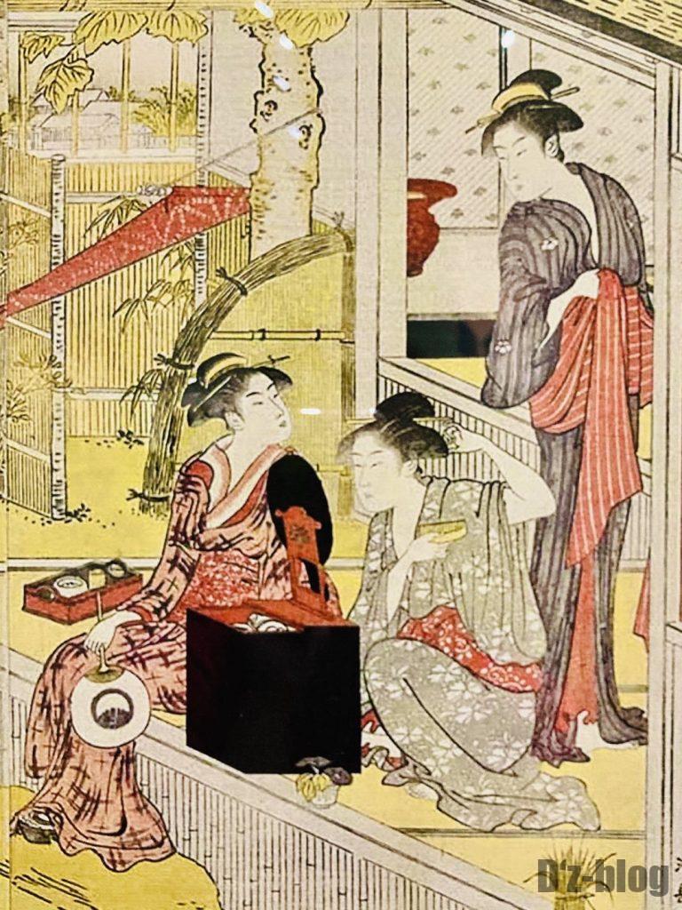 上海浮世絵髪をとく女性