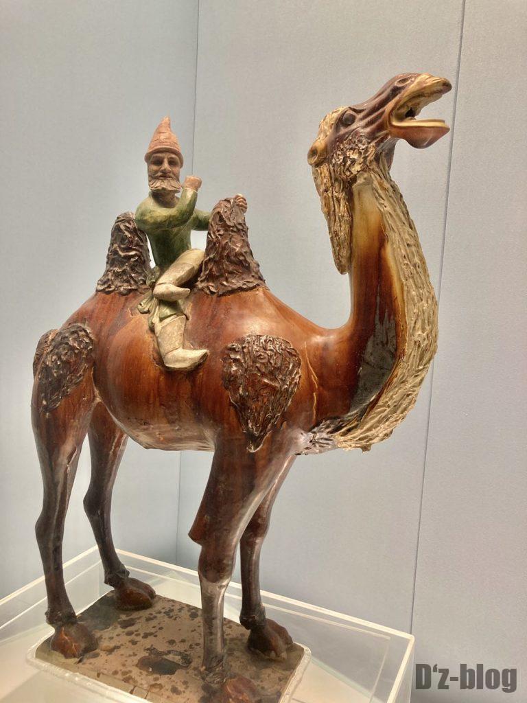 上海博物館ラクダに乗る男性置物