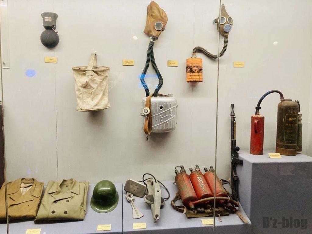 上海公安博物館 消防マスク等展示