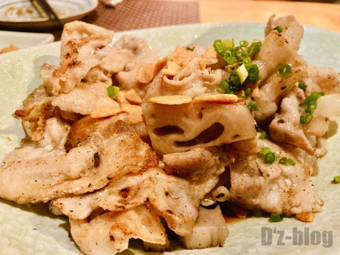 上海岳 豚バラとレンコン炒め