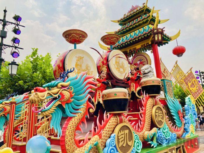 上海ディズニーランド午前パレード三国志太鼓