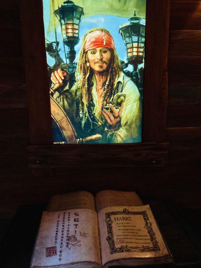 上海ディズニーランド海賊船内動く肖像画と本