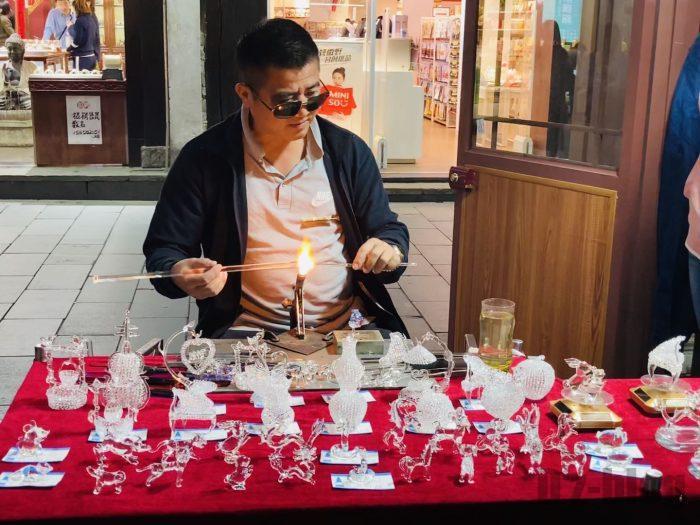 杭州清河坊小店ガラス作り