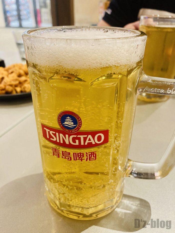 上海大成活海鮮烧烤 青島ビール