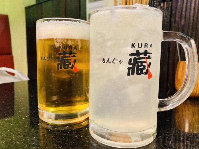 上海蔵もんじゃビールとレモンチューハイ