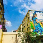 上海東昌路マンション壁アート