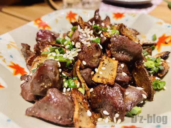 上海彩羽砂肝の炒め物