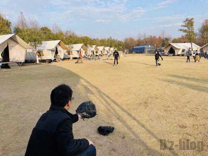 上海光明海湾国家森林公園キャンプソフト練習③