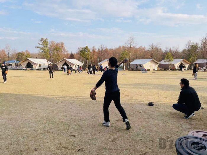 上海光明海湾国家森林公園キャンプソフト練習