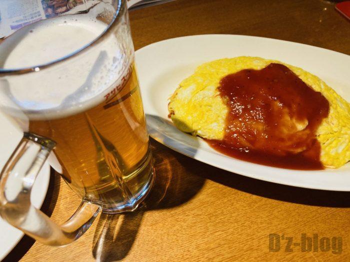 上海美伊娜オムライスとビール